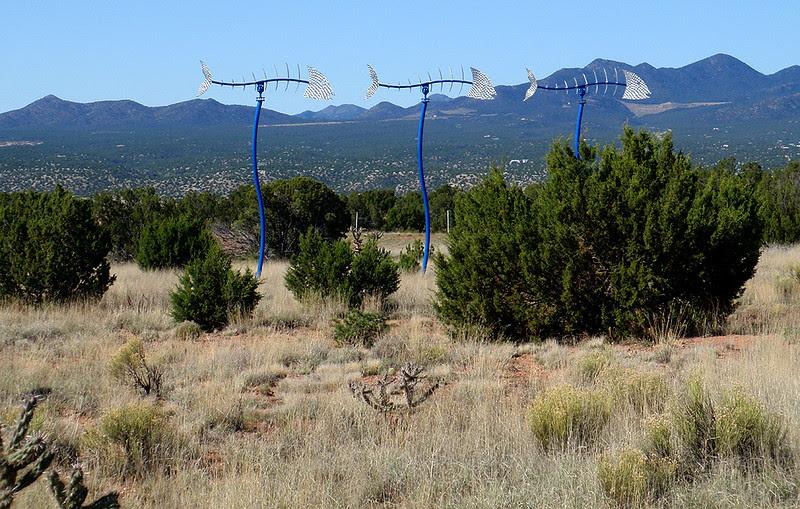 Fish wind vanes, Santa Fe, New Mexico