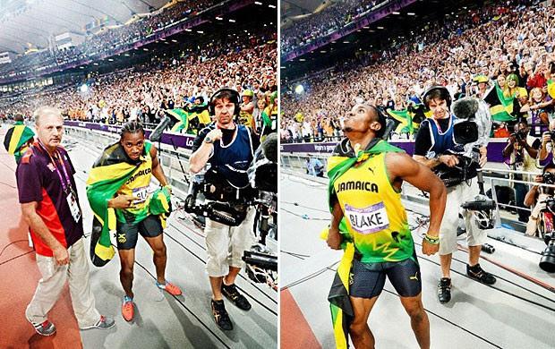 Yohan Blake posa para foto de Bolt (Foto: Reprodução / MailOnline)