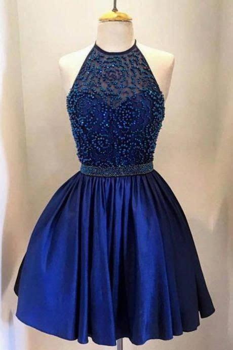 knee length halter neckline navy blue homecoming dress