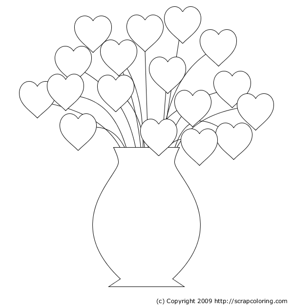 Hearts Bouquet Coloring Page