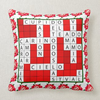 Love Crossword in Spanish on Throw Pillow