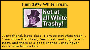 Results of Mike's White Trash Test equal 19%