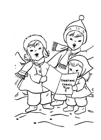 クリスマスキャロルを歌う子どもたち ぬりえ