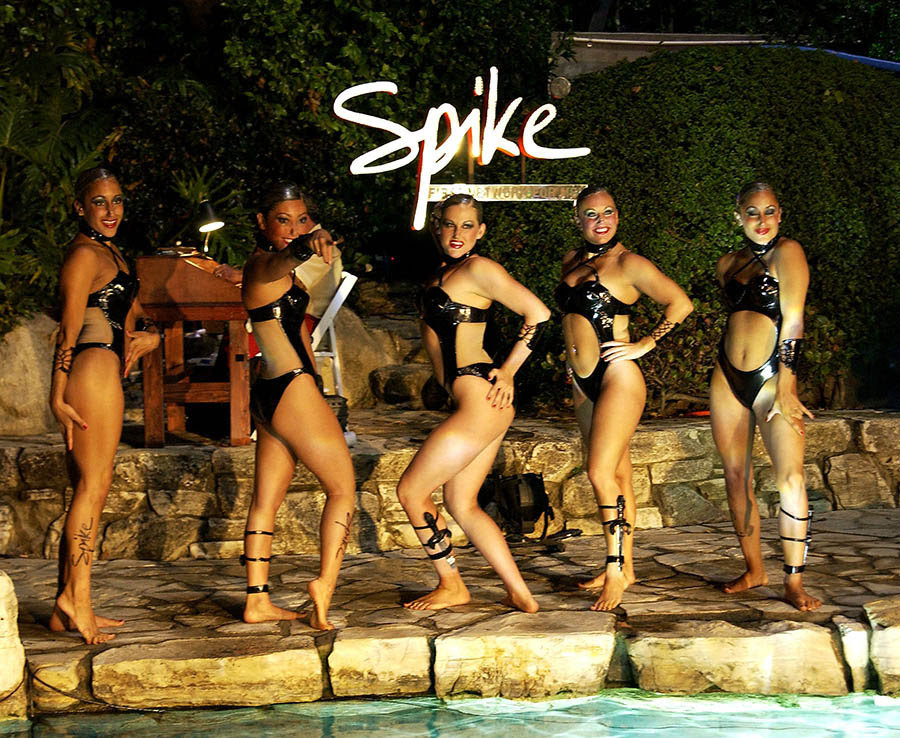 The Spike TV Water Ballet Team perform at the official launch party for Spike TV at the Playboy Mansion
