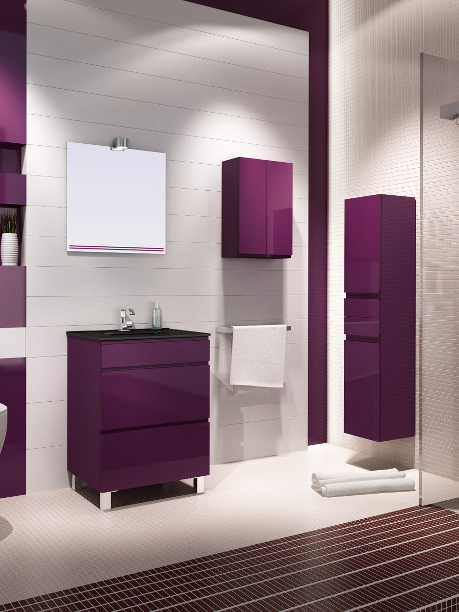 Contemporary washbasin cabinet with mirror - IONA 60 CM - MACRAL