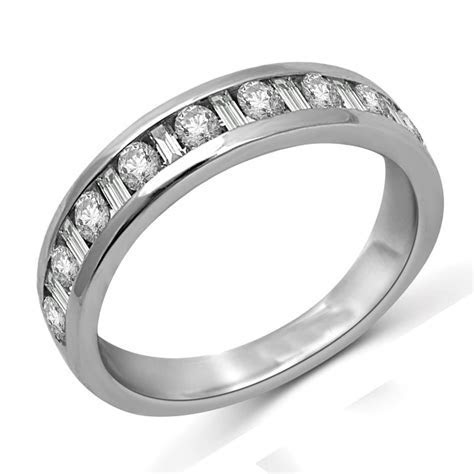 Round and Baguette Diamond Wedding Band in White Gold