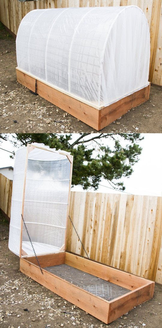 30+ Creative DIY Raised Garden Bed Ideas And Projects --> DIY raised garden bed with removablea greenhouse covering