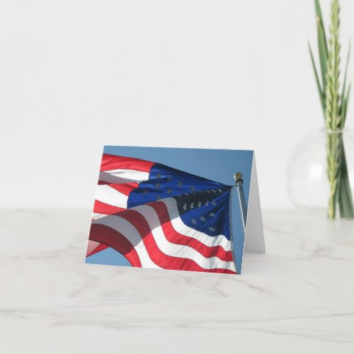 Patriotic American Flag Note Card zazzle_card