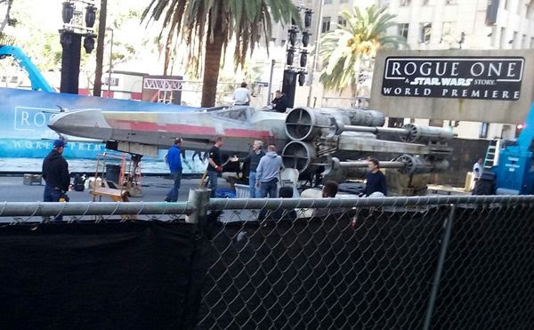 A full-size X-Wing prop is set up on Hollywood Boulevard for the ROGUE ONE: A STAR WARS STORY premiere...on December 8, 2016.