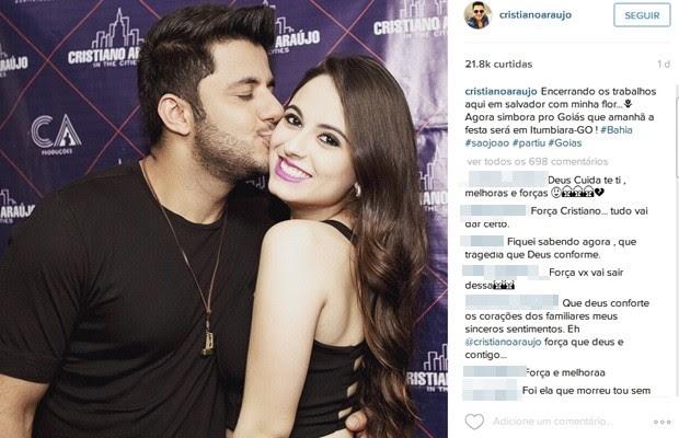 Cristiano Araújo postou foto com a namorada antes se seguir para Itumbiara, Goiás (Foto: Reprodução/Instagram)