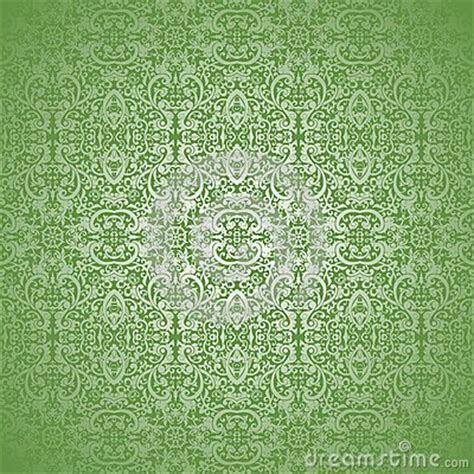 Wallpaper Silver Batik Swirl On Green Background Stock