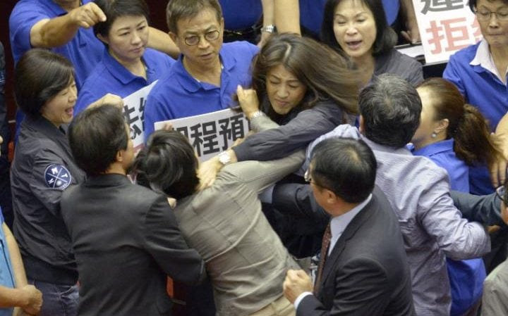 Female legislators from opposing camps had their hands on each other's throats as a dozen colleagues pushed and shouted trying to separate them