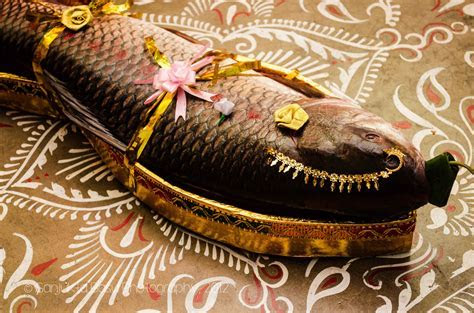 Bengali wedding: A large size Rohu fish is decorated as a