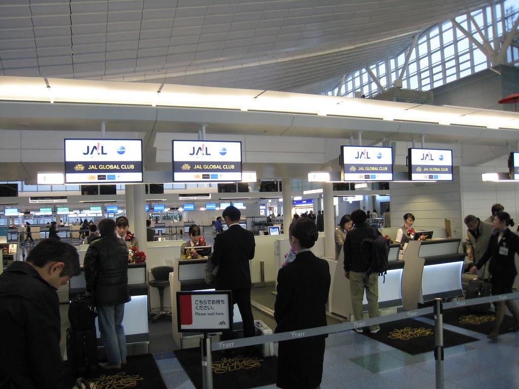 Japan Airlines (JAL) JGC check-in counters at Haneda (HND) International Terminal