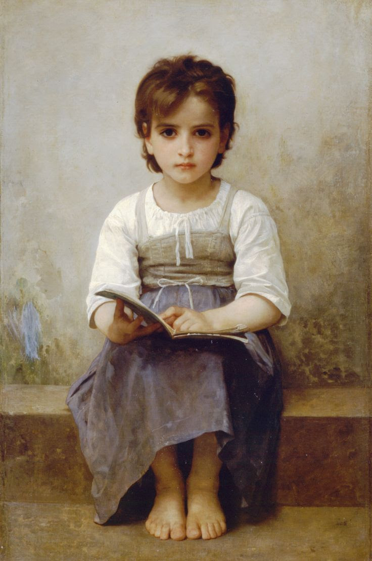 The hard lesson - William-Adolphe Bouguereau (November 30, 1825 - August 19, 1905). French academic painter. Bouguereau was a staunch traditionalist whose realistic genre paintings and mythological themes were modern interpretations of Classical subjects with a heavy emphasis on the female human body.    Although he created an idealized world, his almost photo-realistic style was popular with rich art patrons. He was very famous in his time.