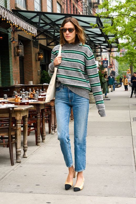 Alexa Chung Style Striped Sweater Prada Knit Straight Leg Jeans Denim Cap Toe Heels Cat Eye Sunglasses Fall Outfit Idea Le Fashion Blog