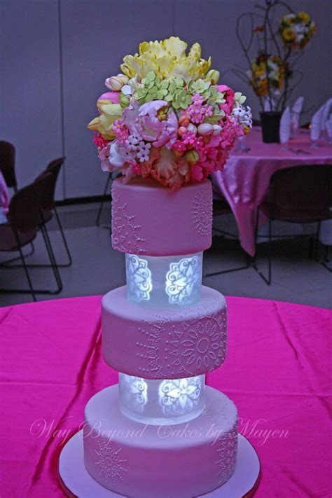 Pale Pink Cake With Self Illuminated Tiers Separators