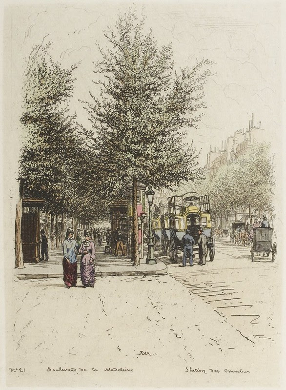 1870s street-scene of pedestrian on footpaths and double-decker horse-drawn carriages
