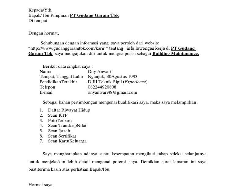 Surat Lamaran Kerja Di Pabrik Rokok Suratlamaran Com