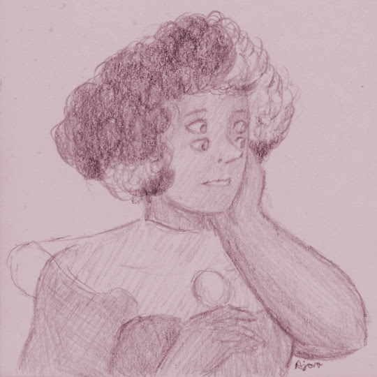 Rhodonite, 3x3″ post-it note doodle. I want an entire episode just focusing on their backstory. I actually had the initial sketch half-done for ages, but it looked so terrible that I set it aside to...