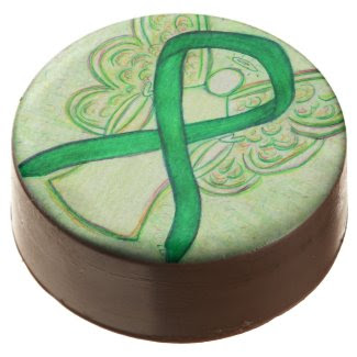 Green Awareness Ribbon Angel Art Cookie Pops Chocolate Dipped Oreo