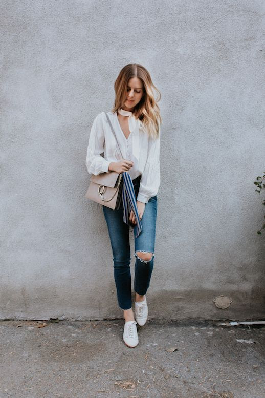 Le Fashion Blog White Blouse Chloe Bag Ripped Knee Skinny Jeans White Shoes Via Take Aim