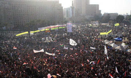 Crowds gathered at Tahrir Square on the second anniversary of the Egyptian uprising of 2011 that led to the downfall of former President Hosni Mubarak. There have been protest and clashes across the North African state. by Pan-African News Wire File Photos