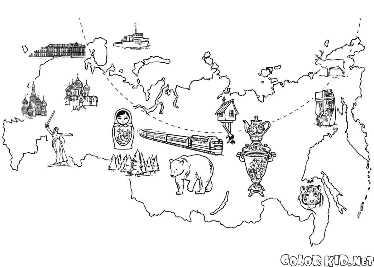 ぬりえ ロシアの地図