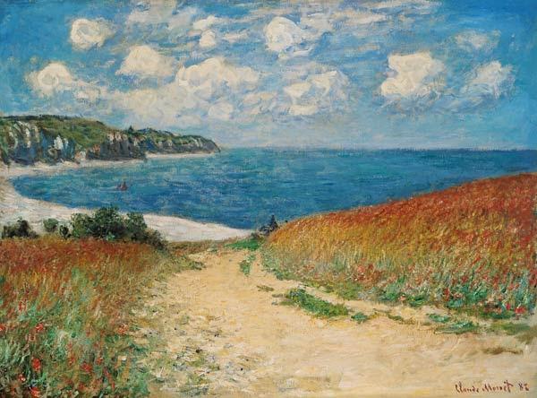 Claude Monet - Camino de playa entre los campos de trigo en Pourville
