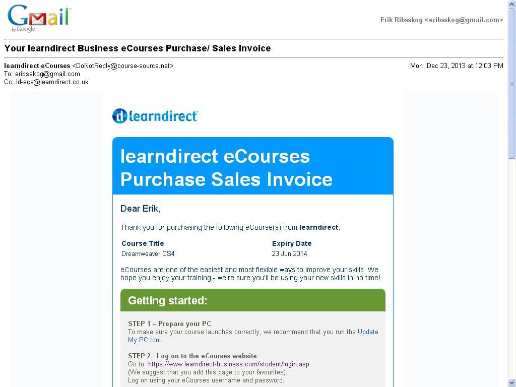 kjøpt kurs i dreamweaver learn direct