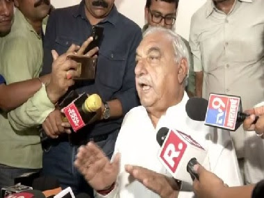 Former Haryana chief minister BS Hooda faces the press after Thursday's election results. ANI