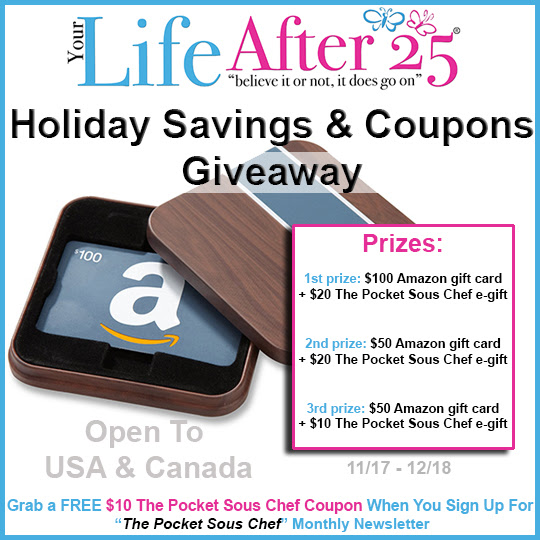 Your Life After 25 Holiday Savings and Coupons Giveaway