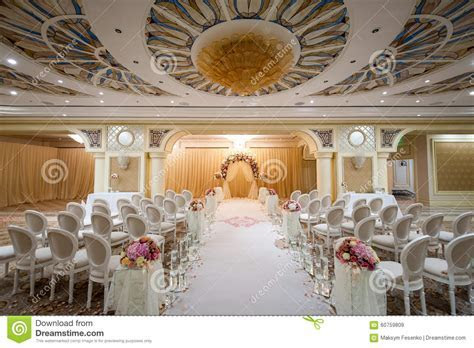 White Chairs At A Wedding Indoor. Stock Photo   Image