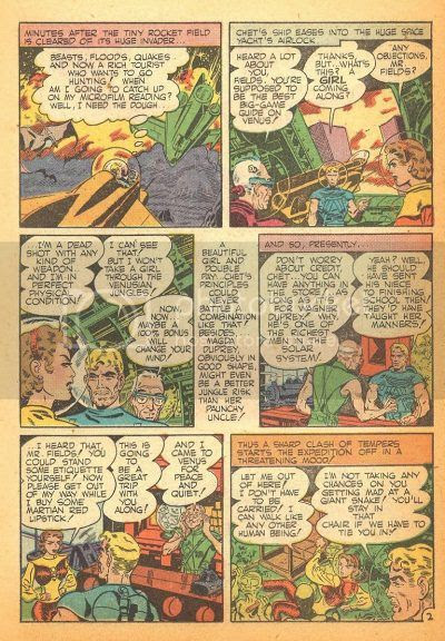 1950's comic book space travelers journey to alien worlds in their retro spacecraft