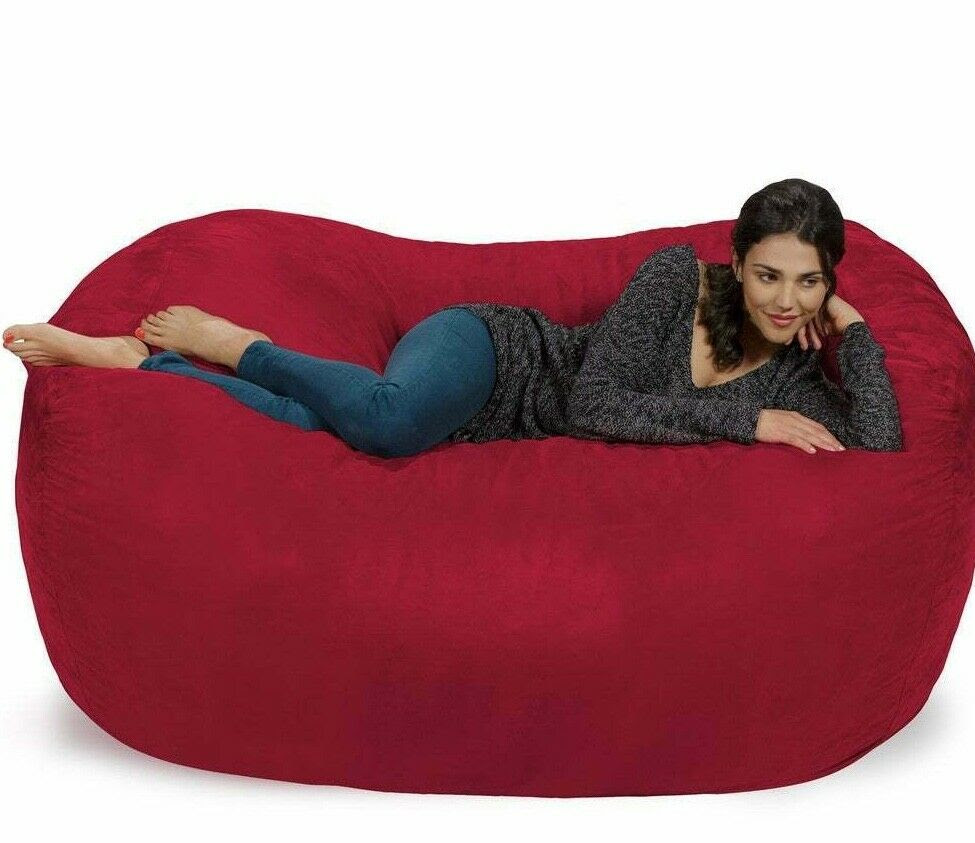 Large Soft Red Bean Bag Beanbag Chair Huge 7' Adult Size ...