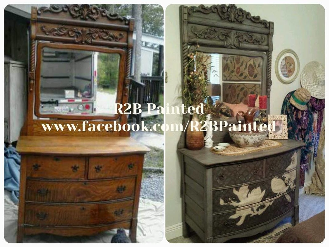 Painted Antique Dresser With Bird Motif Celebrate Decorate