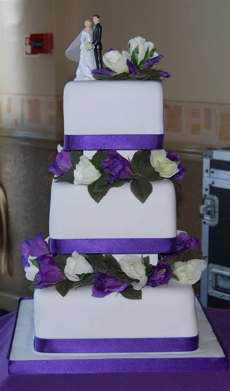 Cadbury Purple 3 tier wedding cake simple and elegant