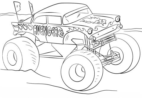 Ausmalbild Avenger Monster Truck Ausmalbilder Kostenlos Zum Ausdrucken