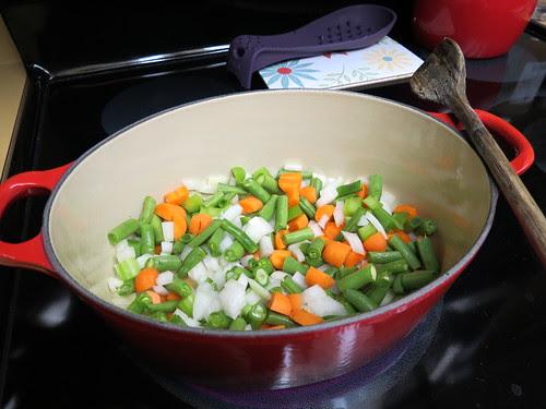 softening the veggies