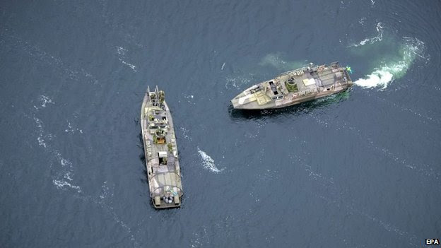 Two Swedish fast-attack vessels in the Stockholm archipelago