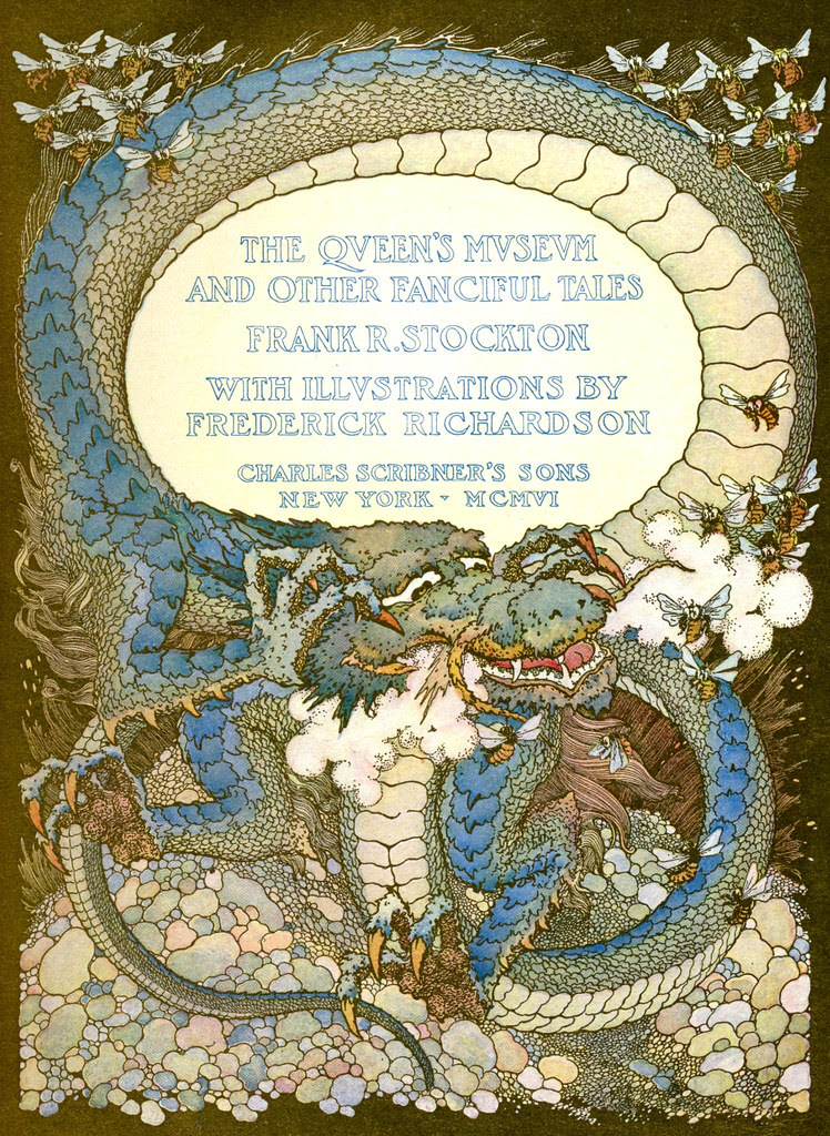 "Frederick Richardson -  Title Page Illustration From ""The Queen's Museum and Other Fanciful Tales"" by Frank R. Stockton, 1906"