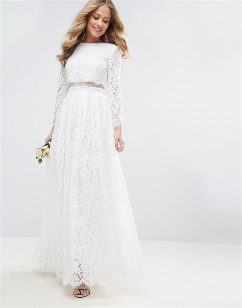 ASOS BRIDAL Lace Long Sleeve Crop Top Maxi Dress