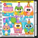 Birthday Owls Layered Templates - CU