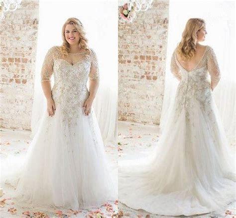 Plus Size Wedding Dresses 2016 Boat Neck Half Sleeve