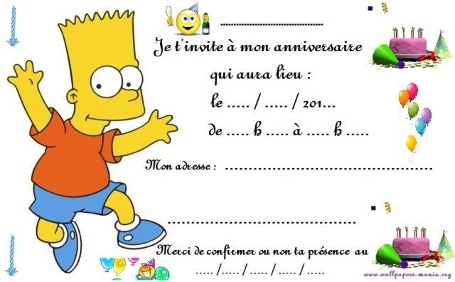 Credit bank personnel: Carte d invitation gratuite pour anniversaire