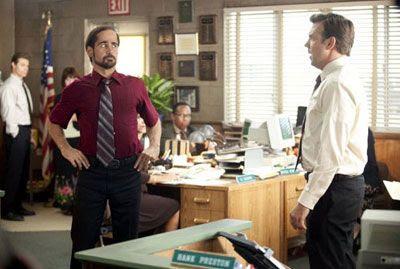 Kurt Buckman (Jason Sudeikis) deals with his boss/tool Bobby Pellitt (Colin Farrell) in HORRIBLE BOSSES.