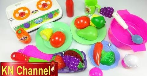 Đồ chơi Bé Na làm bếp nấu ăn bằng bếp nhựa Cooking Vegetables food Childrens toys