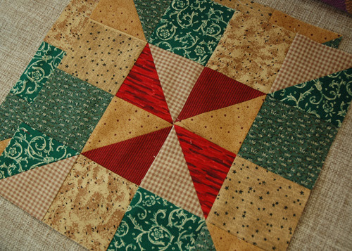 the first block x2.  using scraps and what I have challenges me to mix up the fabric a bit more than the sew-along asked for.