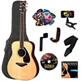 Yamaha FG730S Folk Acoustic Guitar BUNDLE w/Yamaha Case and Legacy Kit(Tuner,Picks,DVD and Much More)