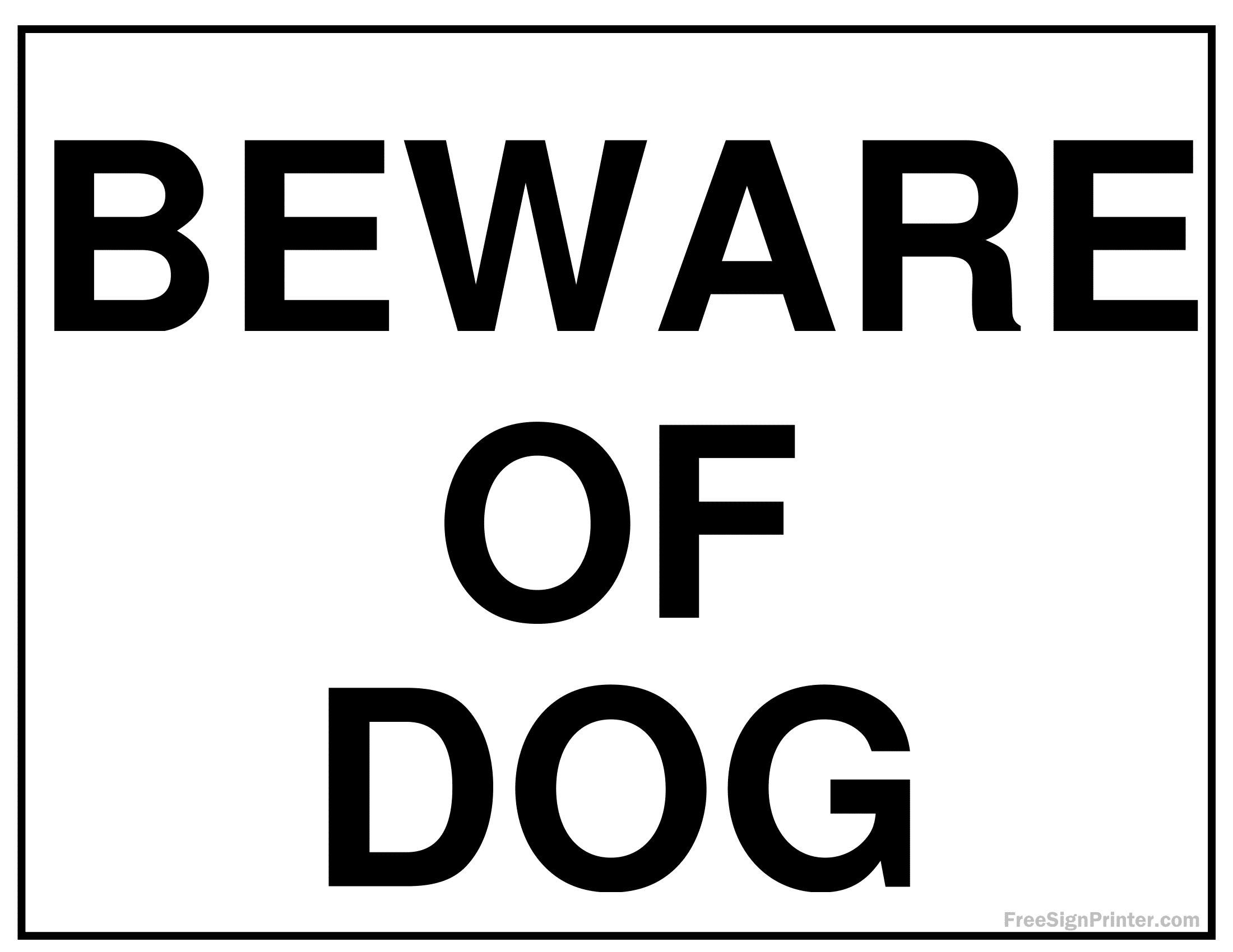 Beware Of Dog Signs Poster Template